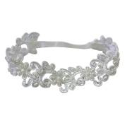 LINA Handmade Satin Elastic Ribbon Christening Princess Pearl Headband
