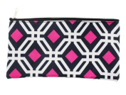 Cosmetic Travel Bag Pouch and Pen/Pencil Holder For School - Pink/White/Black- 27cm x 14cm