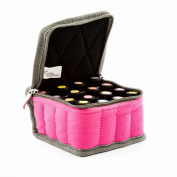 Essential Oil Carrying Case - Pink - Holds 16 Bottles 5-15ml - Sturdy & Compact Travel Bag Protects Young Living, doTERRA Oils and Most Major Brands by Aroma Outfitters