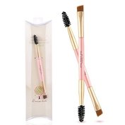 PrettyDiva Double-Ended Angled Eye Brow Brush and Spoolie Brush Spiral Eyelash Brush Dual Precision Makeup Brushes