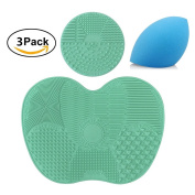 3 pcs/set Makeup Brush Cleaning Mat Pad with Sucker, 1 Apple Shape Mat,1 Circle Shape Mat and 1 Makeup Sponge Puff, Silicon Brush Cleaner Scrubber Board