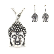 Vintage Feel Buddha Head Pendant Earrings and Necklace