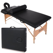 Eshion Portable Two-Fold Pad Chair Bed Spa Massage Table Carry Case