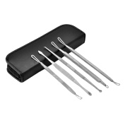 AENMIL 5 Pcs Stainless Steel Pimple Acne Needle Blackhead Whitehead (Black) Extractor Remover Tool Kit with Leather Case