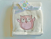 Plush Ivory Baby Blanket With Owl Applique'