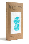 Tippy Toes Organic Muslin Swaddle Baby Blanket, Turquoise Pineapple, Large 120cm x 120cm