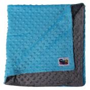 Minky Reverse Baby Blanket, Turquoise/Grey