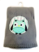 Garanimals 100% Polyester Fleece Soft, Comfy and Cosy 80cm x 100cm Baby Blanket in Soft Grey with Happy Mint Coloured Owl and Matching Grey Whipstitch