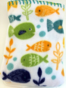 Garanimals 100% Polyester Fleece Soft, Comfy and Cosy 80cm x 100cm Baby Blanket in White with Swimming Fish Print and Ocean Blue/Teal Contrast Whipstitch