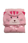 Soft Fleece Baby Animal Hood Blanket for Swaddling - Pink Kitten Hood- 80cm X 80cm