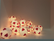 Lovely Handmade Lighting String 20 Red Heart Yarn Balls Lights Lamp Lantern Home Decoration, Patio Living Room Yard Garden Indoor Outdoor Birthday Christmas Wedding, New Year Valentine Holidays Party