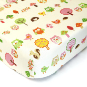 Birds, Owls, Squirrels In The Forest - Cotton Polyester Fitted Crib Sheet - Soft Nursery Bedding for Boys / Girls - QUALITY Infant / Toddler Bed Sheets for Christmas / Baby Shower Gift by Cuddly Cubs