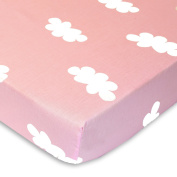 Pink and White Clouds - 100% Cotton Percale Fitted Crib Sheet - Soft Nursery Bedding for Boys / Girls - TOP QUALITY Infant & Toddler Bed Sheets for Christmas and Baby Shower Gift by Cuddly Cubs