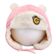 Cute Winter Baby Kids Warm Earmuffs Hats Comfortable Plush Caps Best Gift-Pink