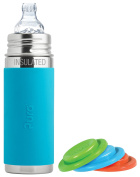 Pura Kiki Stainless Steel Vacuum Insulated Toddler Sippy Bottle, Aqua, 270ml, Plus Set of 3 Silicone Sealing Discs