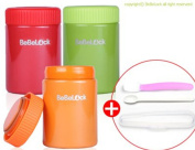 BeBeLock Thermos baby food container 260ml 3 in 1 Set Stainless steel