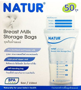 Natur Smile Breast Milk Storage Bags 180ml (Pack of 2 Boxes = 100 Bags) Leak-Proof Zipper Seal Breastfeeding Freezer Safe & Pre-Sterilised