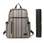 Colorland Unisex Multifunction Backpack Nappy Bag With Changing Pad Grey Stripes