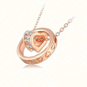 Rose Gold Plated CZ Circle Heart Pendant Charm Necklace