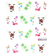 GGSELL Deco Nail decals water transfer fingernail decals the hydroplaning nail stickers green Pleasant Goat
