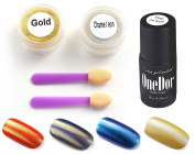 OneDor Chrome Shinning Glitter Mirror Nail Powder & No Wipe Gel Top Coat - UV Led Cured Required
