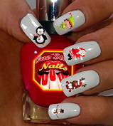 Christmas Santa Nail Art Decals. Clear Waterslide Nail Decals (Tattoo) Set of 50 by One Stop Nails MCS-002-50