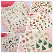 Warm Girl 12 Sheet Christmas Snowflake Tree 3D Nail Art Sticker Decal Tips Manicure Decoration