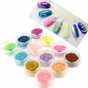 ZeroPlusZero 3600pcs 12 Colours Nail Art Design Stickers Faux Pearls Tips Decorations
