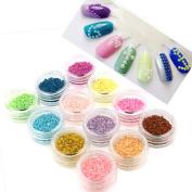 ZeroPlusZero 3600pcs 12 Colours Nail Art Design Stickers Faux Pearls Tips Decorations