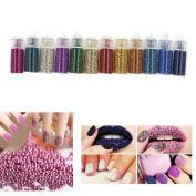 ZeroPlusZero 12 Colours Nail Art Design Mini Bottle Beads Manicure Decoration Tool