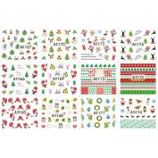 Thinkmax Nail Art Tips Nail Decal Stickers Christmas Decor-12 sheet