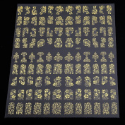Warm Girl 2Sheet 108pcs 3D Gold Flowers Nail Art Stickers For Nail Tips Decoration