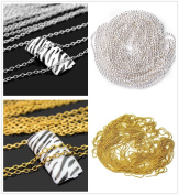 ECBASKET 3D Golden/Silver Metal Chain Design Nail Art - DIY Alloy Nail Art Decorations , 4 Styles ,1m Per Style