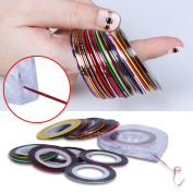Elite99 30pcs Mixed Colour Nail Art Tips Striping Tape Line Sticker with Tray Box Holder Nail Art Decoration Sticker