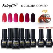 FairyGlo 6 PCS Gel Nail Polish+Top Base Coat+ Colour Strips tape Roll Gift Set UV LED Soak Off Manicure Starter Kit DIY 7ML 00012