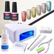 CLAVUZ 6pcs Soak Off Starry Gel Nail Polish UV LED Glitter Nail Lacquer Top and Base Coat Set 36W UV LED Nail Lamp Cleanser Plus Manicure New Starter Nail Art Tool Kit