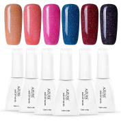 Azure Beauty Gel Nail Polish UV LED Rainbow Colour Gel Polish Set, 12ML 6 PCS WSGP19