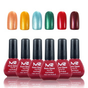 MelodySusie Durable Gel Nail Polish - Party Queen 1 Step Colour Gel Contain Six Gorgeous Colour Collection, Quick Curing under LED UV Nail Dryer and Easy Soak Off