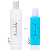 NYK1 Secrets Prep & Shine 100ML & 250ML Acetone Pack. UV Gel Nail Sanitising Cleanser, Brush Cleaner & Sticky Residue Remover For Nailac, Shellac, UV Gel, Acrylic Nails & All Nail Treatments