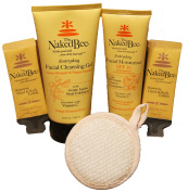 5 Pc Naked Bee Facial Gift Set - Everday Facial Cleansing Gel, Vitamin C SPF 30 Facial Moisturiser, Cleansing Pad and 2 Sample Body Lotions