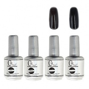 Kaifina 4PCS CH Silver Bottle Soak-off UV Gel Set Top Coat+Base Gel+2 UV Colour Builder Gel