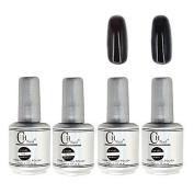 Kaifina 4PCS CH Silver Bottle Soak-off UV Gel Set Top Coat+Base Gel+2 UV Colour Builder Gel