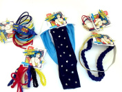Bundle of 40 Total Scunci Brand Wonder Woman Hair Accessories Headbands, Ties and Ponytail Holders in Red, White, Blue and Gold
