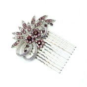 Faship Gorgeous Purple Crystal Floral Hair Comb