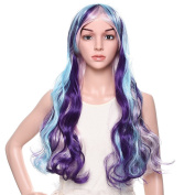 Uarter Cosplay Harajuku Lolita Long Curly Hair Colour Gradient Blue cos Gradient Wig perruque Cosplay Costume Party