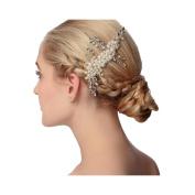 VKFashion Vintage Bridal Comb with Pearl Wedding Crystal Bridal Headpiece Style A02
