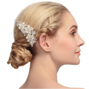 VKFashion Vintage Wedding Bridal Flower Combs with Hand-Painted Enamel Leaves and Austrian Crystals Style B02