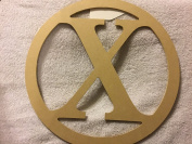 """X"" wooden letter wreath"