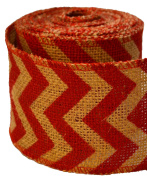 Firefly Craft Red Chevron Burlap Ribbon, 10 yards by 7.6cm