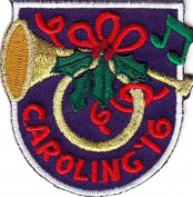 """carolling '16"" - IRON ON EMBROIDERED PATCH - CHRISTMAS - HOLIDAY - SINGING -"